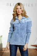 Blue Willis Damen Pullover Zip Iceblau