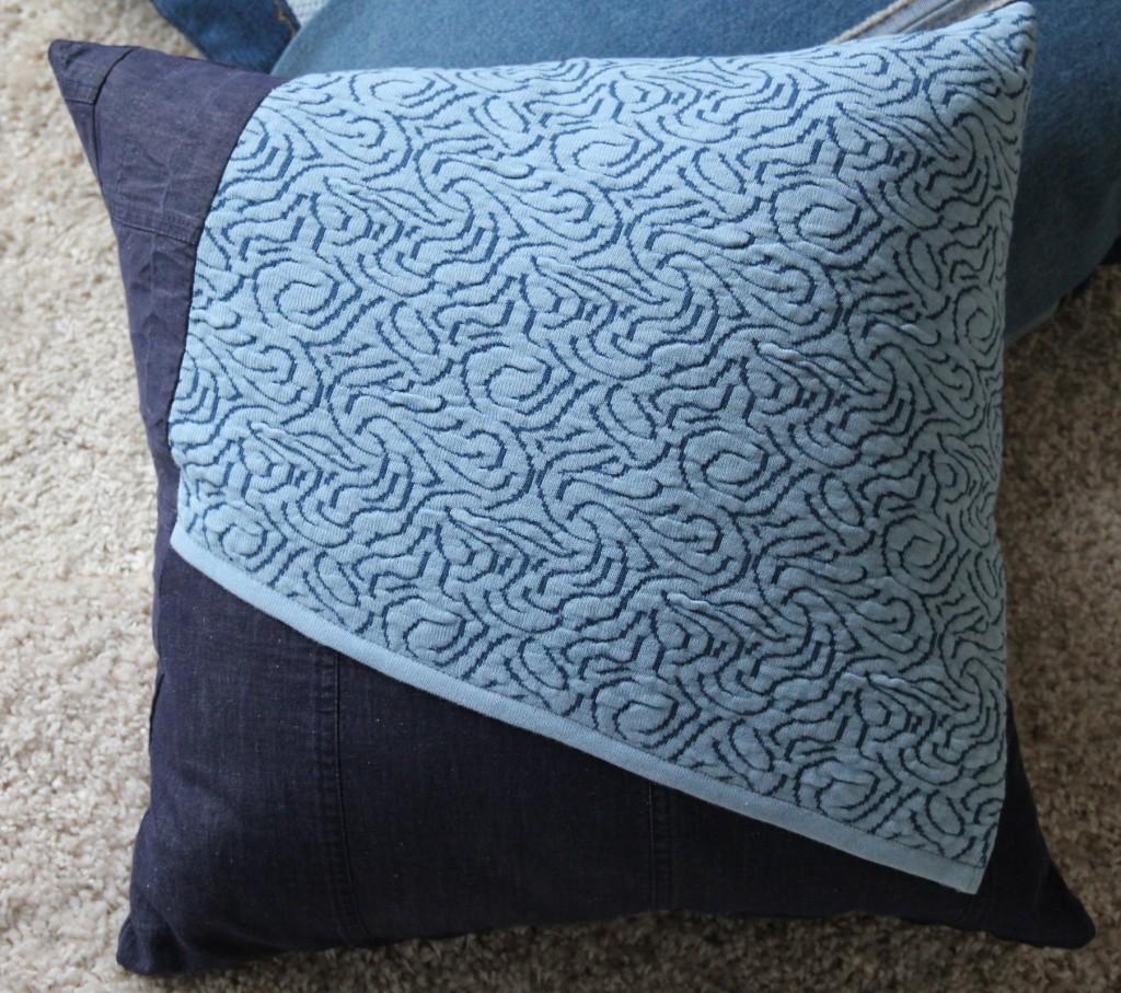 kissen jeans strick patchwork 50x50 wohnen. Black Bedroom Furniture Sets. Home Design Ideas